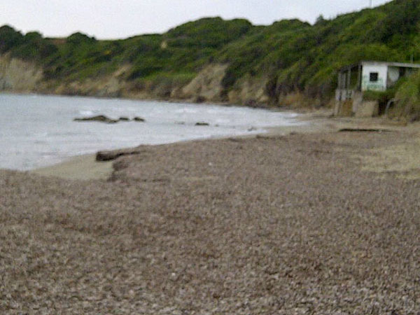 The beach near Kyllini where we walked this morning