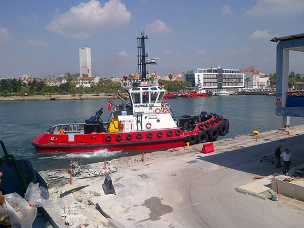 We admired the bright red tug boat that pulled our ferry into the port. They're tough little boats and the crew have to be really skilled.