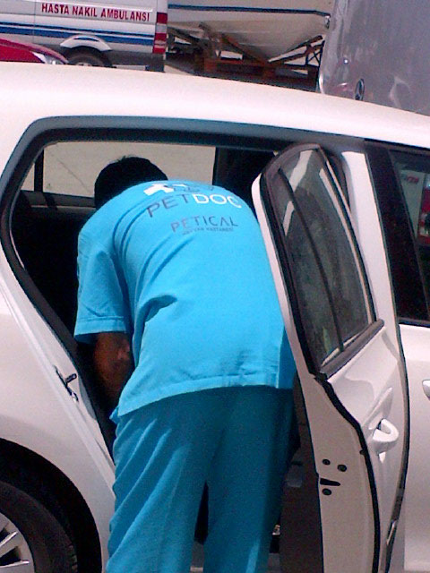 Dr Ozbaba (Eren's father) reaches into his car for a microchip reader