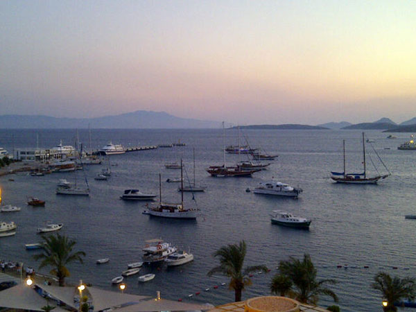 You can just spot the silhouette of Kos beyond Bodrum bay