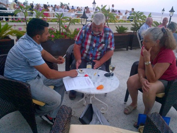 Evening meeting to go over the plans: our North Cyprus agent Mustafa, courier M and Margaret from KAR