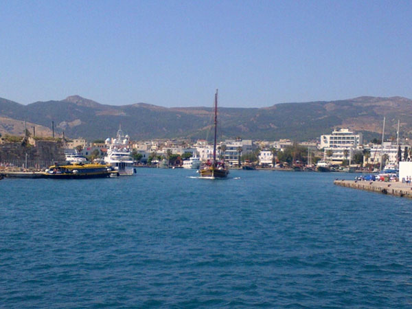 Pulling in to Kos port