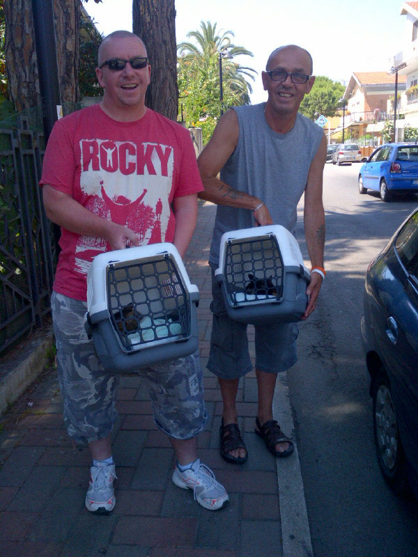 Our first delivery — Buffy, Billie and Barbara from Turkey were collected in Pescara by David (in red) and his friend Steve