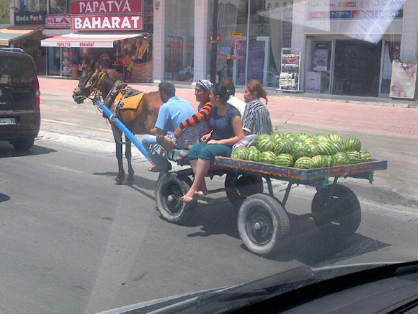 Once on the road, we can see it's watermelon season here in Turkey