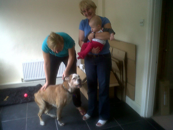 …and so thrilled at being reunited with his family, he can't sit still for a moment!