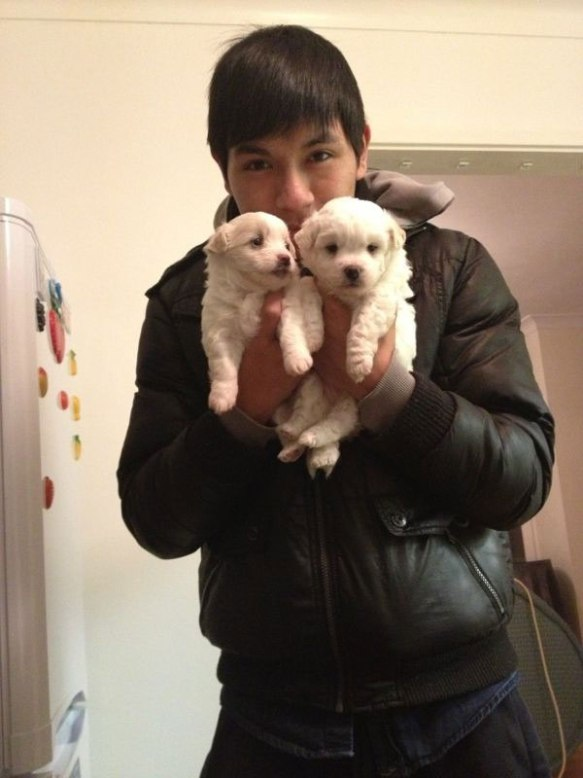 Fly's owner with two of the pups