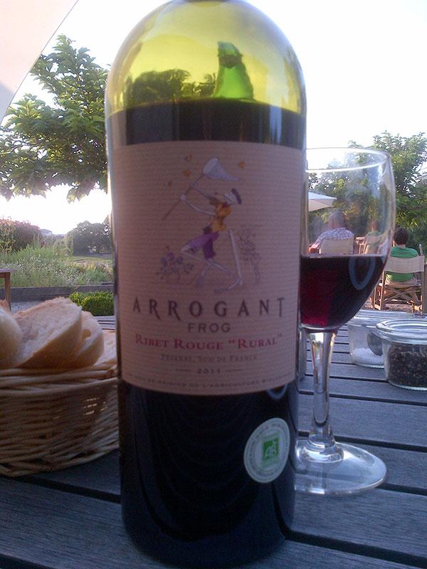 'Arrogant frog' — an interesting organic wine from the Languedoc (nice and leggy!)