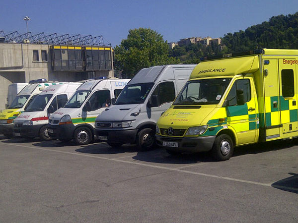 At Ancona port, a grim reminder of world events — the Animalcouriers van parks among former UK ambulances that are bound for Syria