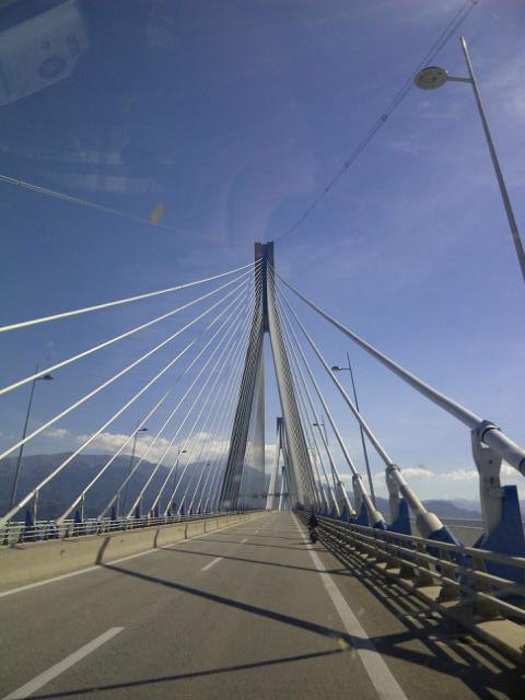 Crossing the rather splendid Charilaos Trikoupis bridge on the way to collect Fudge