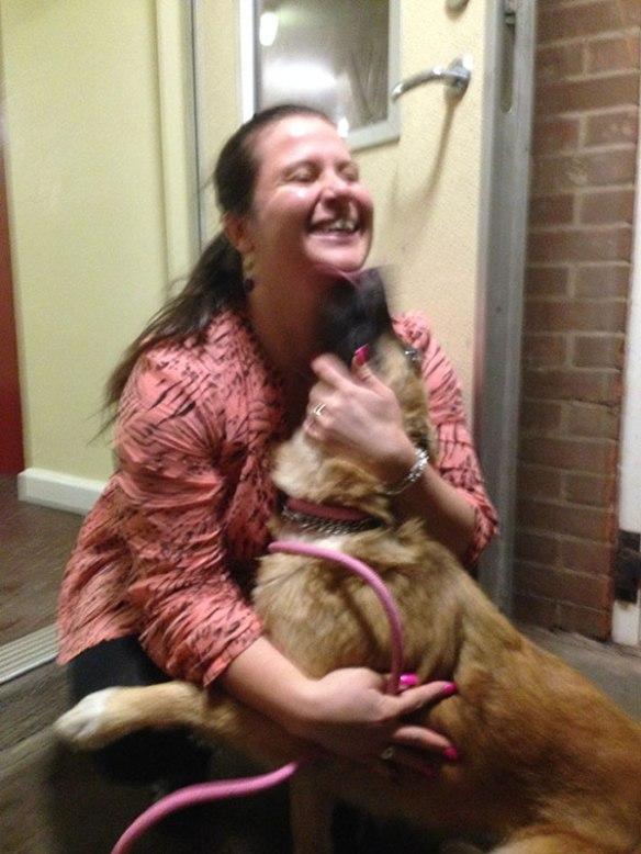 Desy returns a big hug with lavish licks