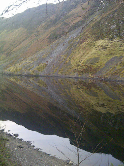 The reflective waters of Loch Awe, at 41km the longest freshwater loch in Scotland