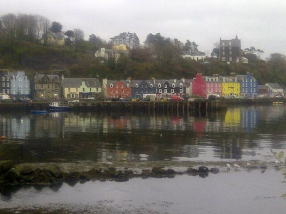 All those brightly coloured houses in context as the ferry pulls