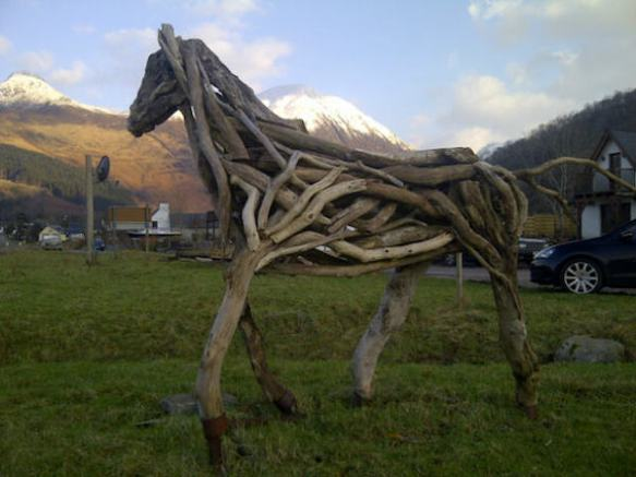 This rather wonderful horse sculpture is nicely set off by Glencoe in the background