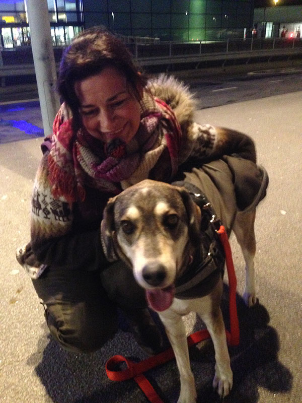 Carla with Honi at Heathrow Terminal 4. As the vet commented, Carla really loves her dog!