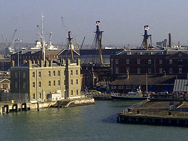 Portsmouth's historic dockyard with a glimpse of HMS Victory — Nelson's flagship at the Battle of Trafalgar in 1805