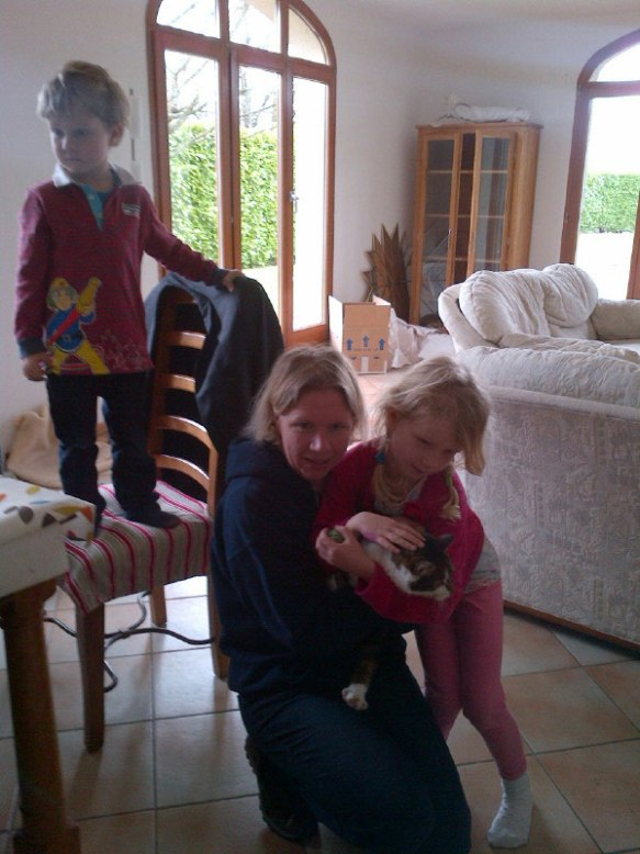 Louise's children Emily and Henry were delighted to be reunited with Glis in their new Swiss home
