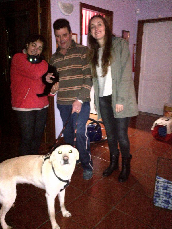 Lovely Lab Kika and handsome black cat Miauf with Anna Maria and her family