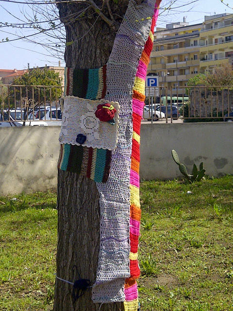 The crochet-covered padlock turned out to be part of a local outbreak of rather wonderful guerilla knitting