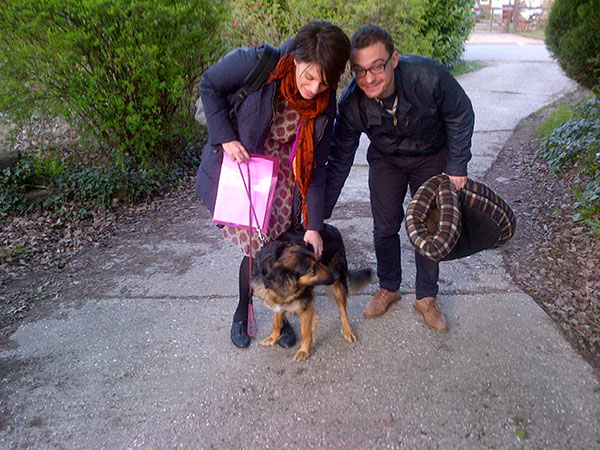 Meanwhile, back in England, Romy was very excited to be back with her owners, Christiana and her partner. Romy had spent the day with courier M, enjoying a good long walk in the Sussex countryside, and relishing all the new sights and smells. Special thanks to Christiana's taxi driver Paul for taking the photo when courier M found his Blackberry battery was flat!