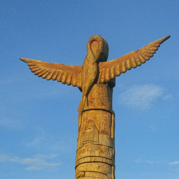 This wonderful totem pole was designed by a primary school in Scotland