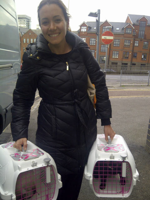 Mariana is thrilled to be reunited with her cats Kuka and Té in Reading
