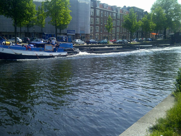 Canalside life in the Dutch city of Amsterdam