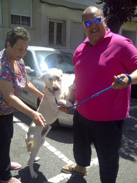 Dancing Deejay gives owner Luis an ecstatic greeting in Lisbon