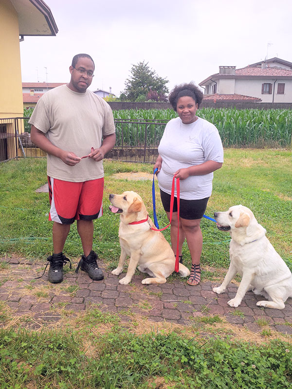 Anthony and Shana with very obedient Lucca and Gino