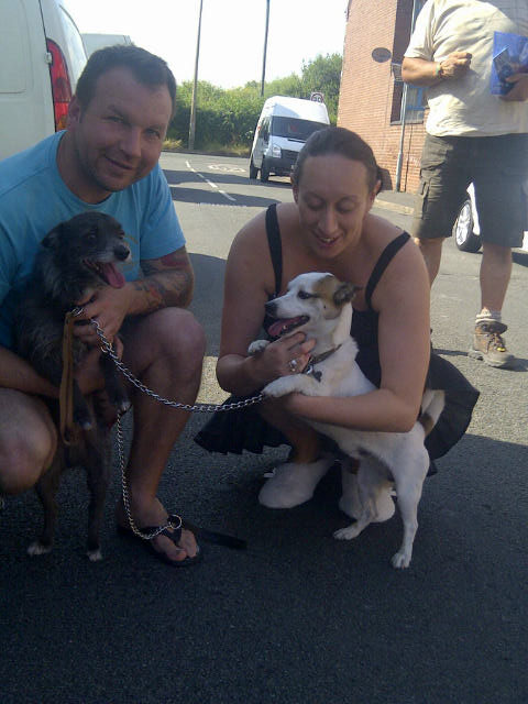 Ben and Selina greeted Smokey and Bingo as they arrived at their new home in sunny Doncaster