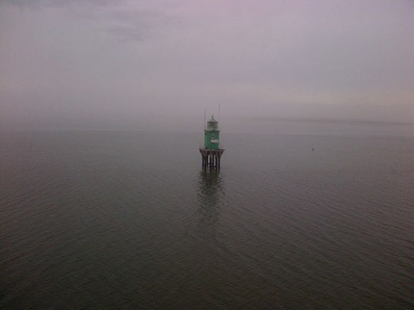 Thick fog obscuring all sight of land as we approach the port of Dublin