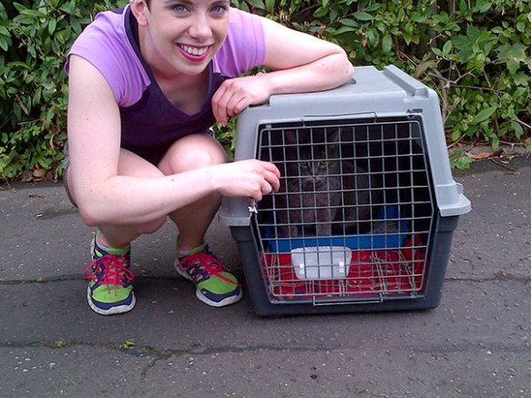 Anne with Edwin when we collected him a few days ago in Scotland