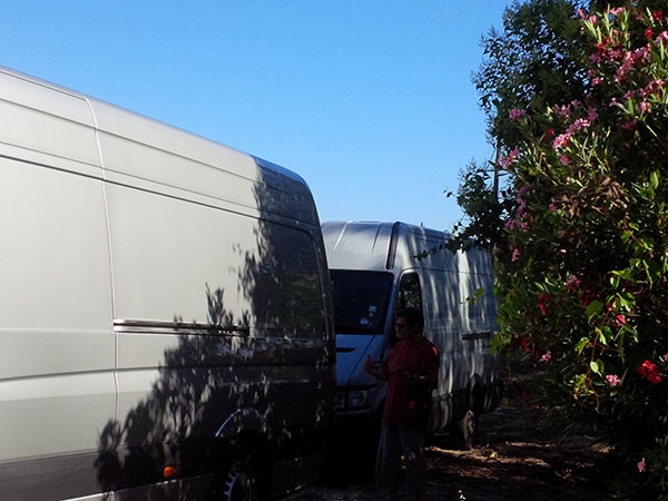 Double trouble! It was a rare treat to have two Animalcouriers vans and four of our couriers all in one place earlier in the week. We stayed the night with our blog/website design/editorial team in Narbonne, and a good time was had by all under a bright blue Mediterranean sky.