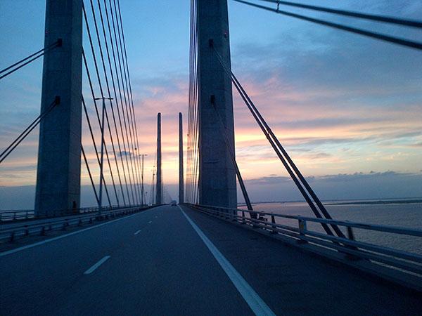 Heading back over the Oresund bridge towards Denmark
