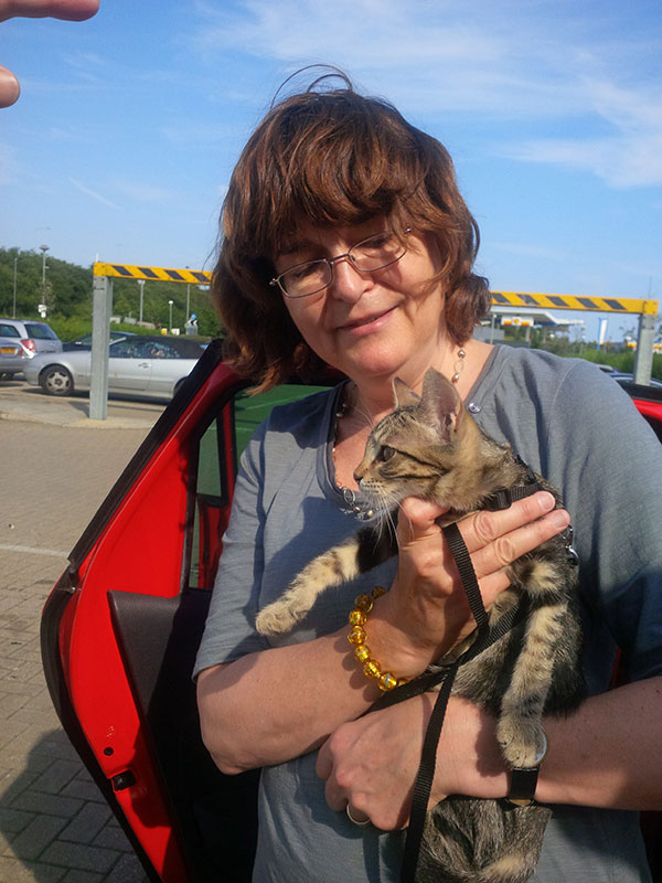 Sarah with her beautiful tabby cat