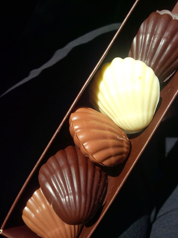 More delicious scallops — chocolate this time, a lovely gift from Clark
