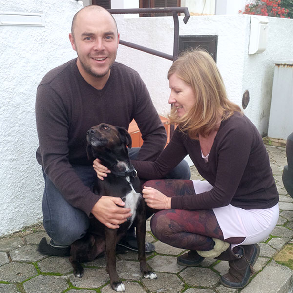 Pacino with his owners Nick and Jackie. He's named after Al Pacino but is rather better looking!