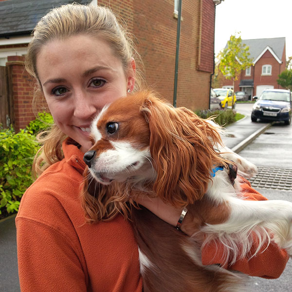 A very happy and wriggly Marley is reunited with his owner in Sussex