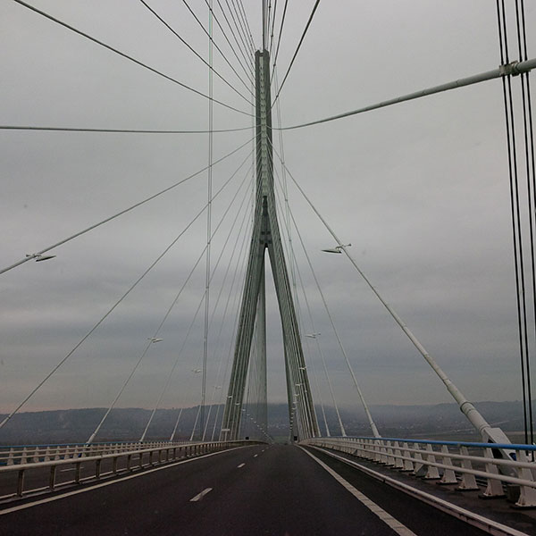 No, it's not 'that' bridge — it's another equally impressive one that links Le Havre to Honfleur in Normandy