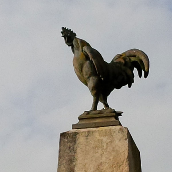 All the memorial stones in the area are topped with a cockerel — the French national symbol