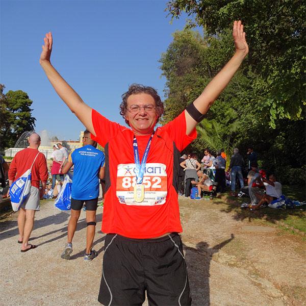 Alexandros finishing the Athens marathon — what a hero!