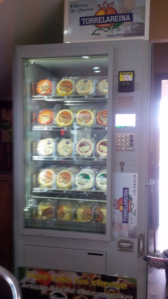 Spain produces only a very limited number of cheeses — around seven at the last count. Many come from Extramadura, which is where we happened upon this cheese vending machine at a roadside bar. Looks like a comprehensive selection!