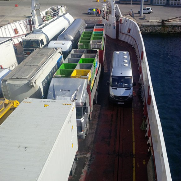 Our van squeezed in alongside the trucks and lorries on the ferry for the crossing to Sicily