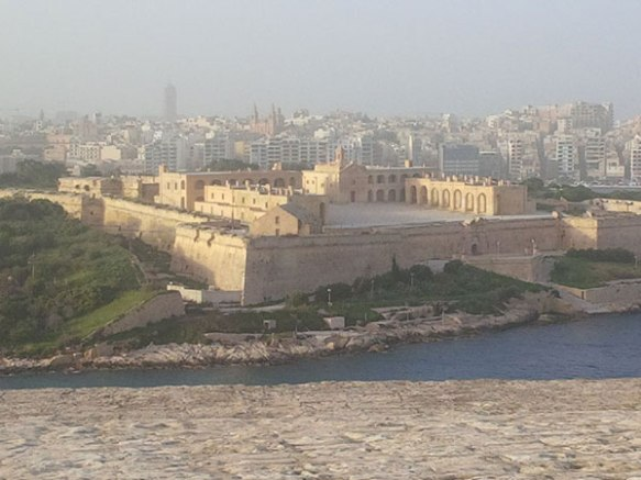 Looking down on the crusader castle from Valetta