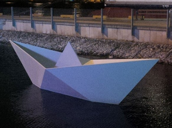 A wonderful origami boat we spotted on the Valetta waterfront