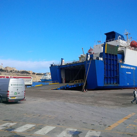 Waiting to board the boat to Sicily