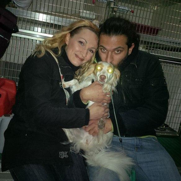 Milou gets a big goodbye cuddle