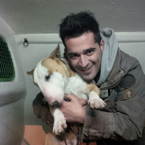 Peabody very happy to be hugged by John