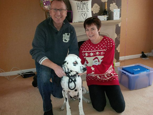 Snoopy at home with Alison and her husband