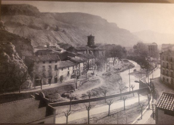 A view of Alhama de Aragon many years ago — the river is now a river bed, and is where we walked the dogs