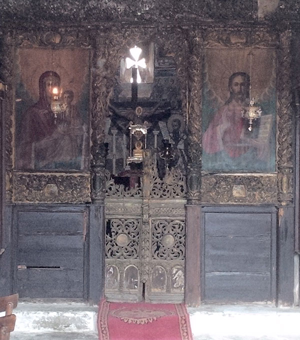 Ancient-looking paintings inside